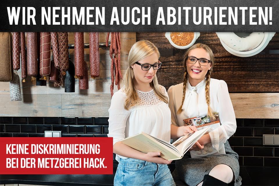 Auch Abiturierenten - peinliche Personalwerbung bei Fleischerei Hack