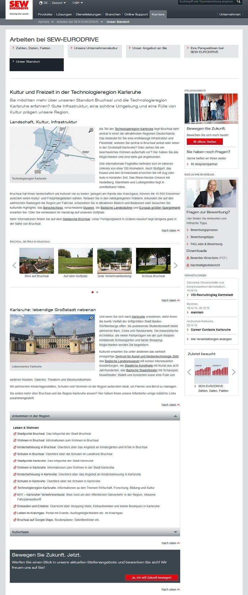 Standort-Informationen über Bruchsal auf der Karriere-Website von SEW-EURODRIVE