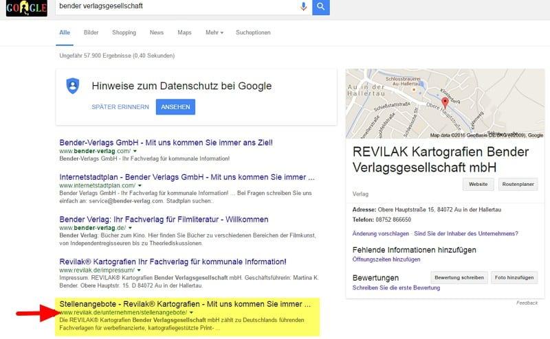 Suchergebnisse bei stätionärer Googlesuche bringen Stellenangebote bei Revilak zum Vorschein