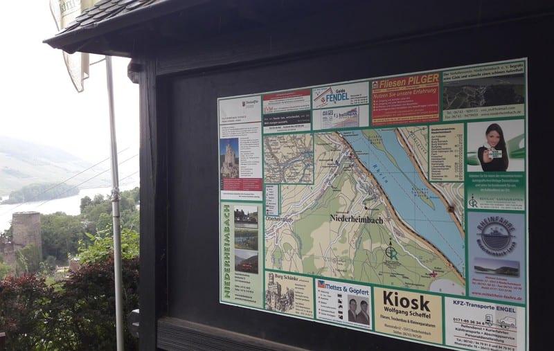 Von Bacharach nach Niederheimbach - Standortkarte mit Jobangebot