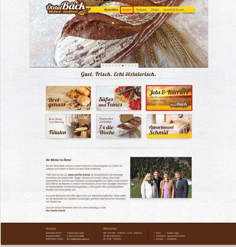 Ötztal Bäck-Website mit plakativen Hinweisen zu Jobs und Karriere