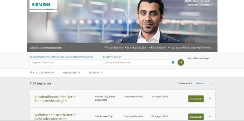 Online-Bewerbung bei Siemens - Jobsuchmaske