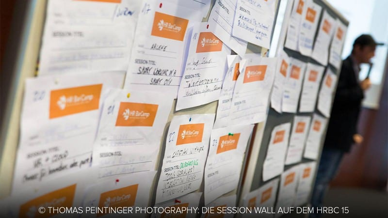 Session Wall auf dem HR Barcamp 2015 in Wien