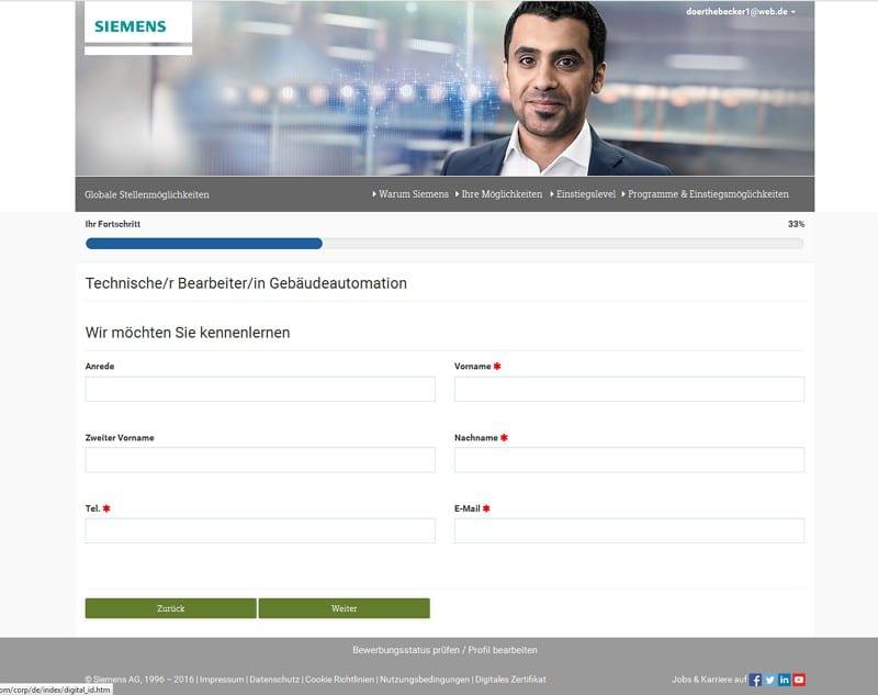 Online-Bewerbung bei Siemens - Daten vervollständigen 1