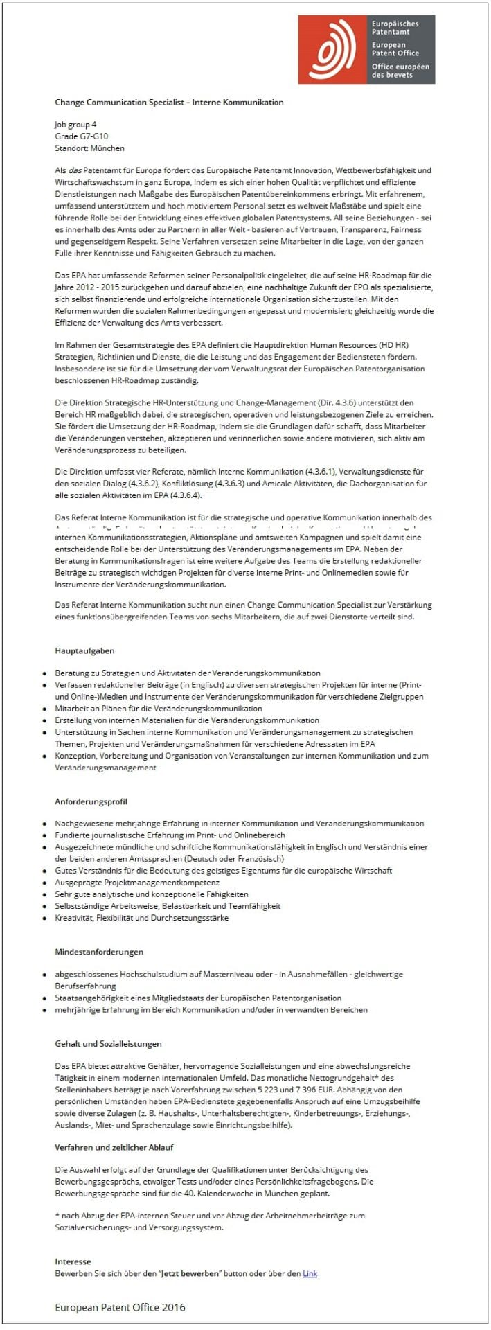 Stellenangebot Change Communication Specialist - Europaeisches Patentamt