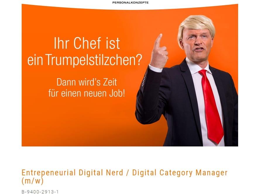 Echt jetzt? Entrepeneurial Digital Nerd-Stellenanzeige auf der Website von AZ Personalkonzepte