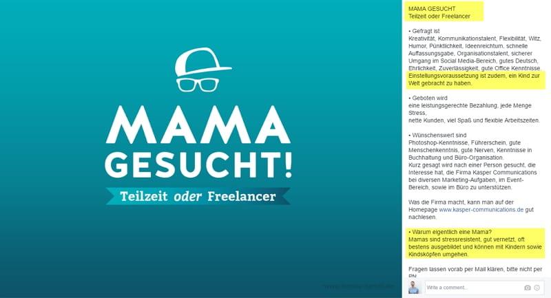 Mama gesucht! - Diese Stellenanzeige sorgt für Aufruhr - Screenshot Facebook