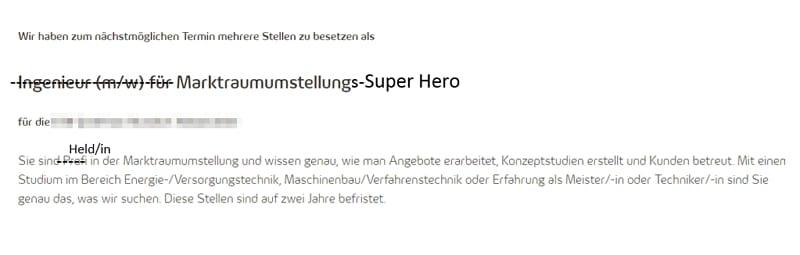 Stellenangebot Marktraumumstellungs-Super Hero