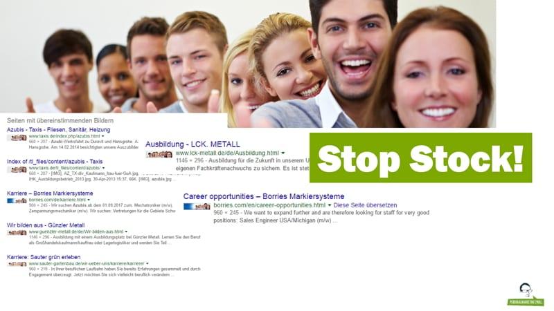 """Stop Stock! - Ein und dasselbe Motiv von """"Azubis"""" ziert verschiedene Karriereseiten"""
