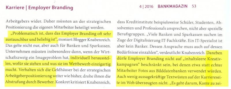 Auszug aus dem BankMagazin 04.16 zum Thema Employer Branding