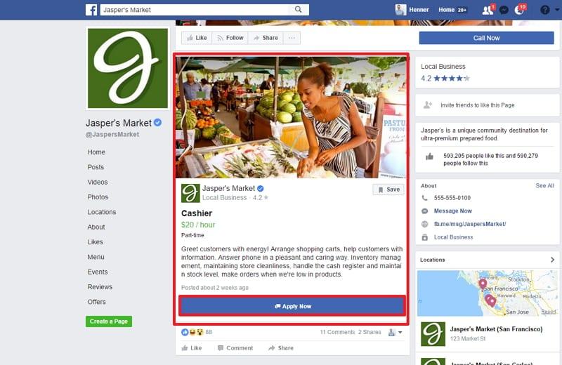Jobs on Facebook - Stellenangebot öffnet sich separat, dann ist Bewerbung möglich
