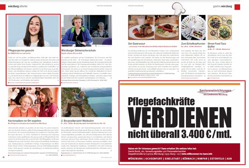 FRIZZ-Magazin mit AWO-Advertorial und Stellenanzeige der Senioreneinrichtungen Würzburg