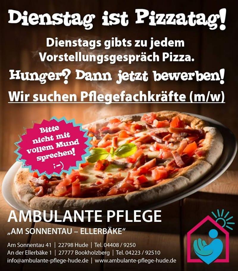 Dienstag ist Pizzatag - Altenheim Am Sonnentau sucht mit provokativer Anzeige Pflegefachkräfte.