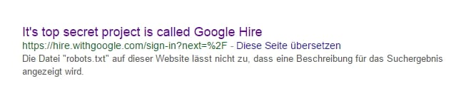 It's top secret project is called Google Hire