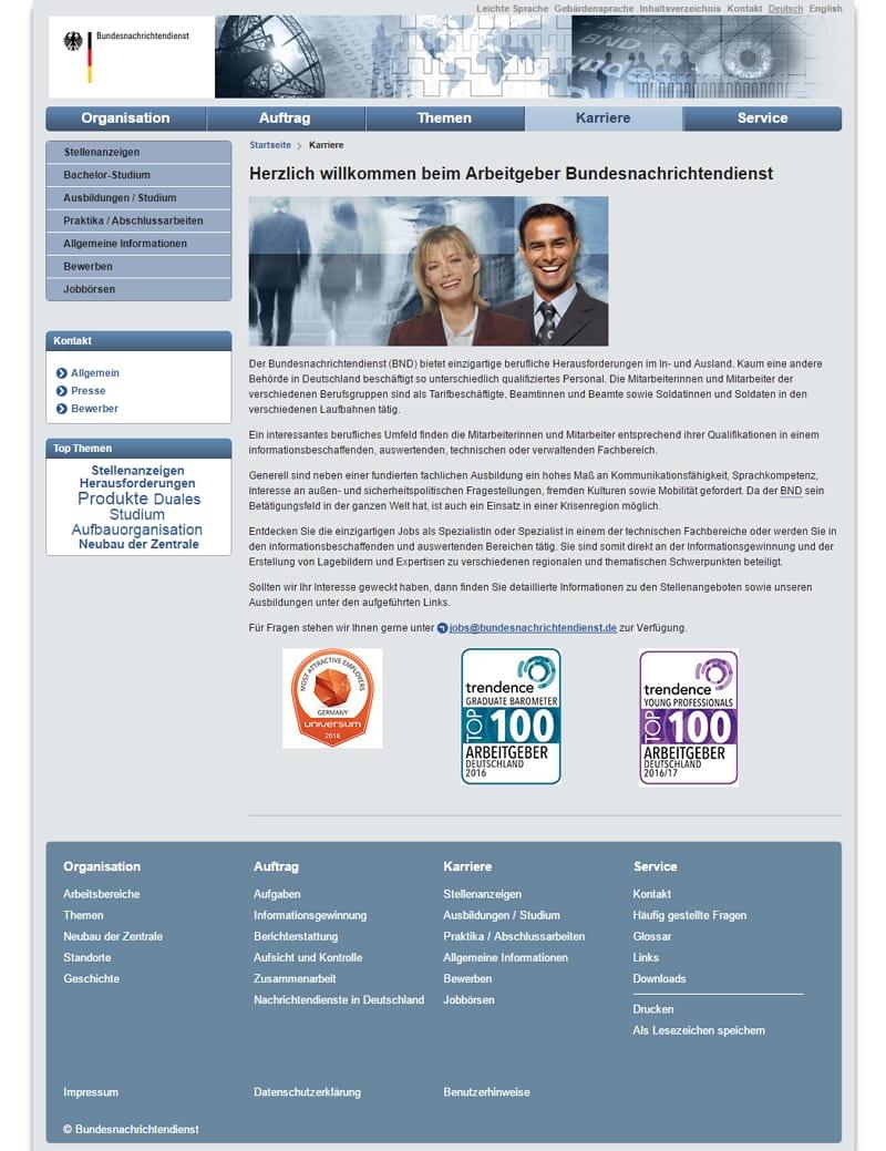 Karriere-Website BND: Keine Infos, Teaser etc. zur Forensik Challenge