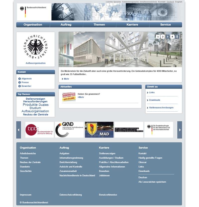 Website des BND - HInweise auf die Forensik Challenge sind Fehlanzeige