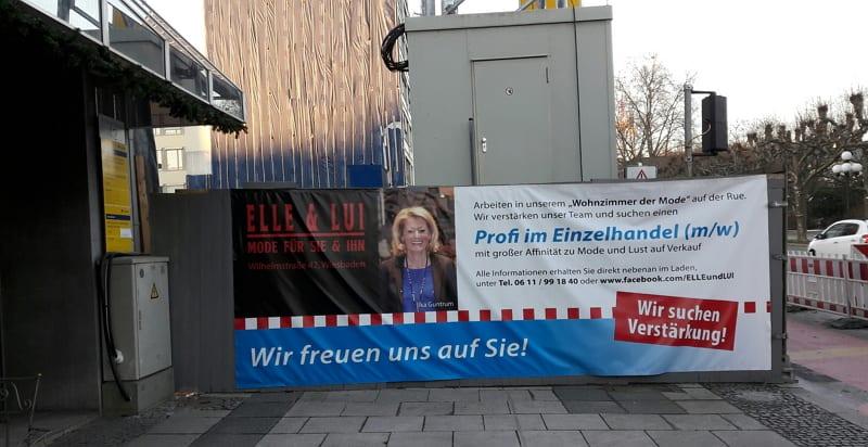 Personalwerbung am Bauzaun, die wirkt - das Beispiel Elle und lui aus Wiesbaden