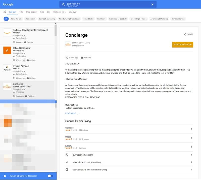 Google for Jobs - Abfrage nach Jobs in der Umgebung