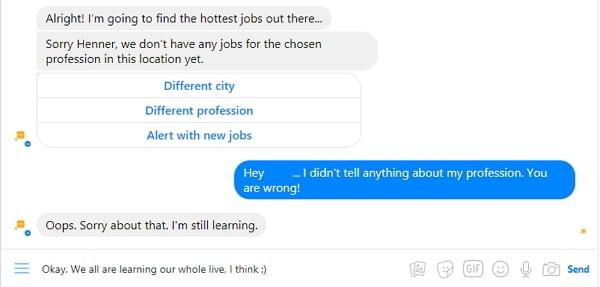 Der Recruiting Chatbot lernt noch...