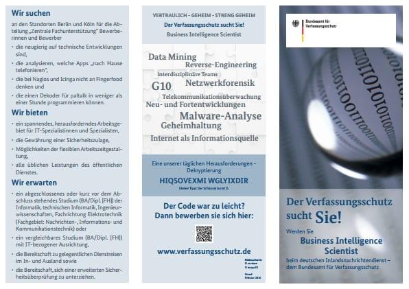 Wenig zeitgemäßes IT-Recruiting - Verfassungsschutz such Business Intelligence Scientists