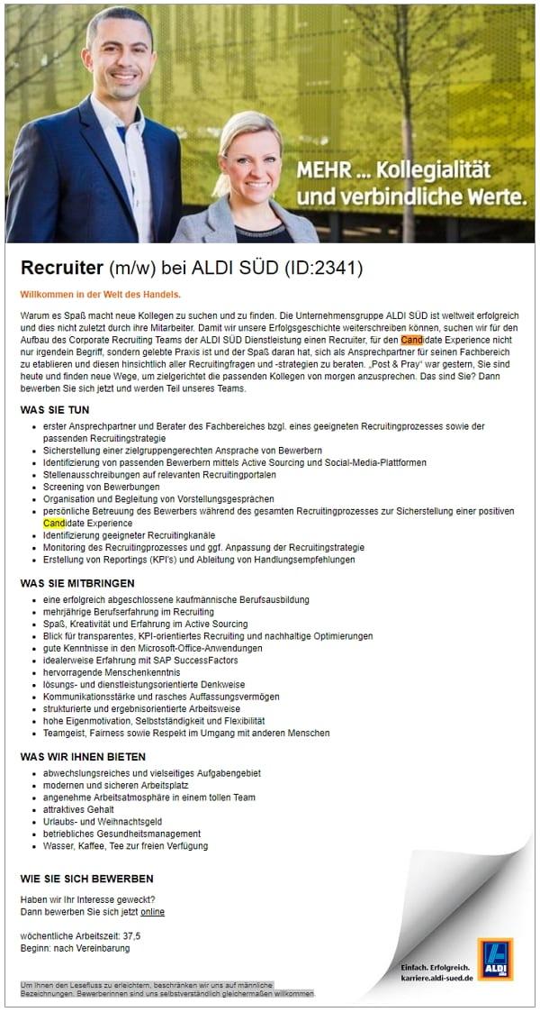 ALDI SÜD sucht Recruiter mit ID und bietet schlechte Candidate Experience