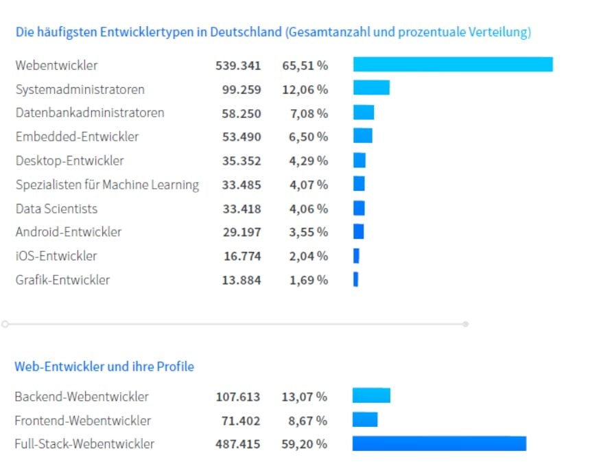 Die häufigsten Entwicklertypen in Deutschland