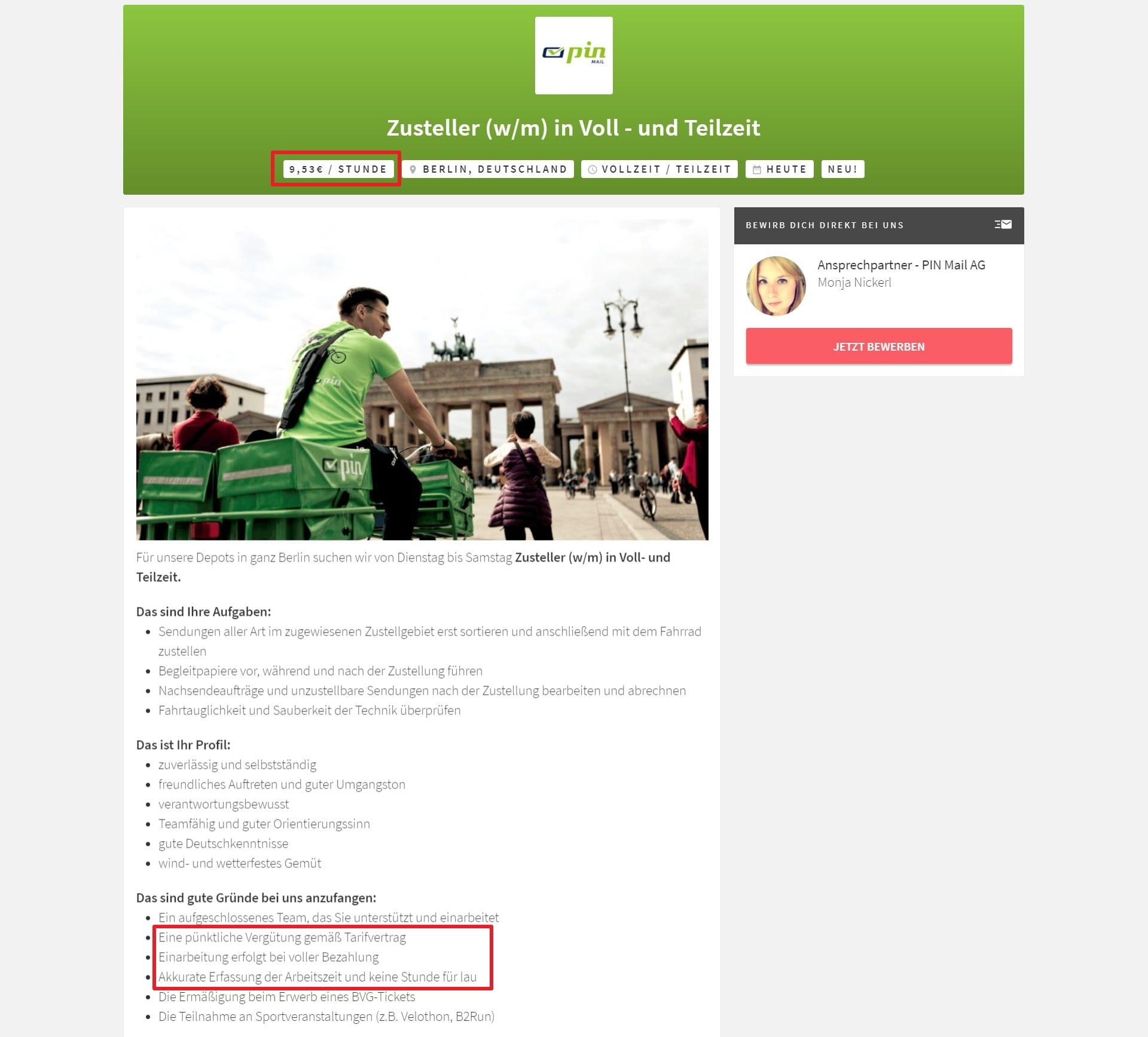 Gehaltsangabe in der Stellenanzeige von PinMail - Screenshot HeyJobs