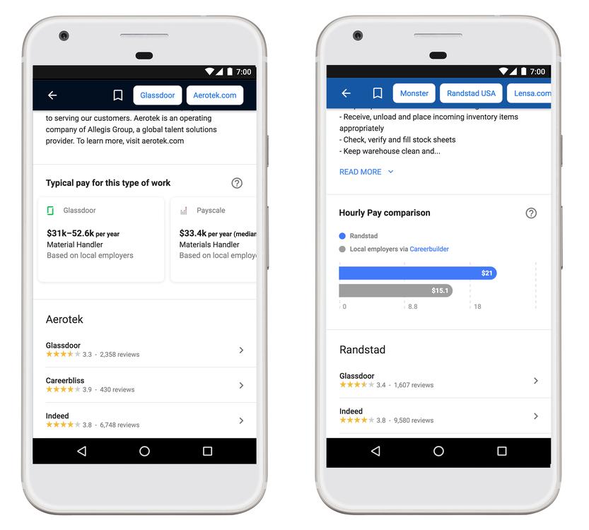 Vergleich der Gehaltsangaben bei Google Jobs
