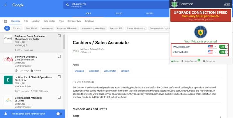Google Jobs mit Browsec im Firefox betrachten