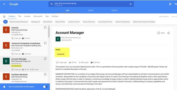 Facebook Jobs werden auch von Google Jobs indiziert