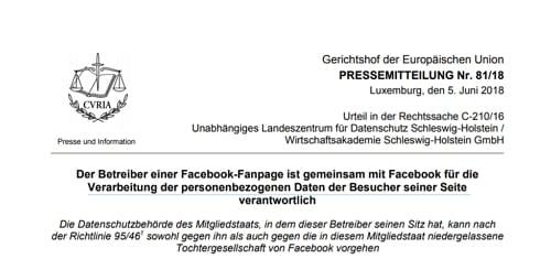 EUGH - Betreiber einer Facebook-Fanpage mitverantworlich