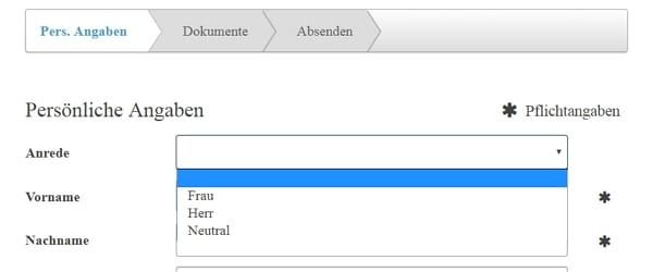 Herr Frau Neutral - Screenshot Concludis HR-Software
