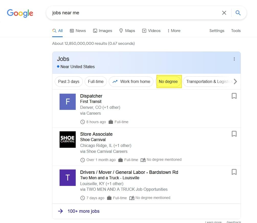Google for Jobs ermöglicht Suche nach Jobs ohne Uni-Abschluss