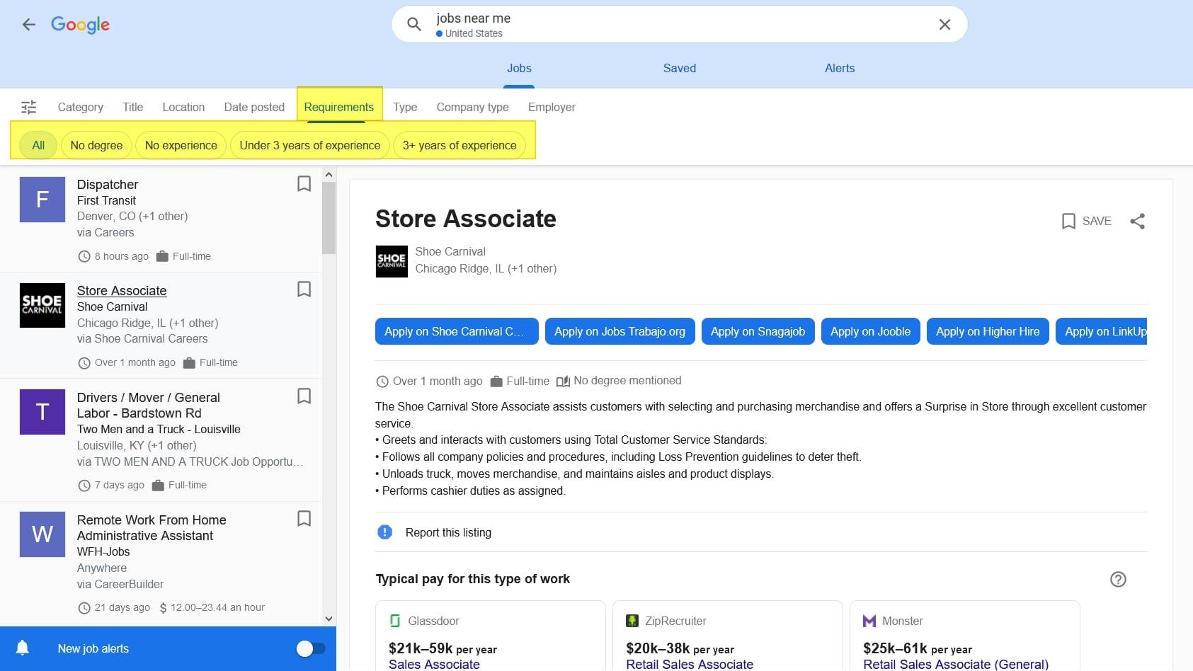 Google for Jobs ermöglicht Jobsuche nach Berufserfahrung