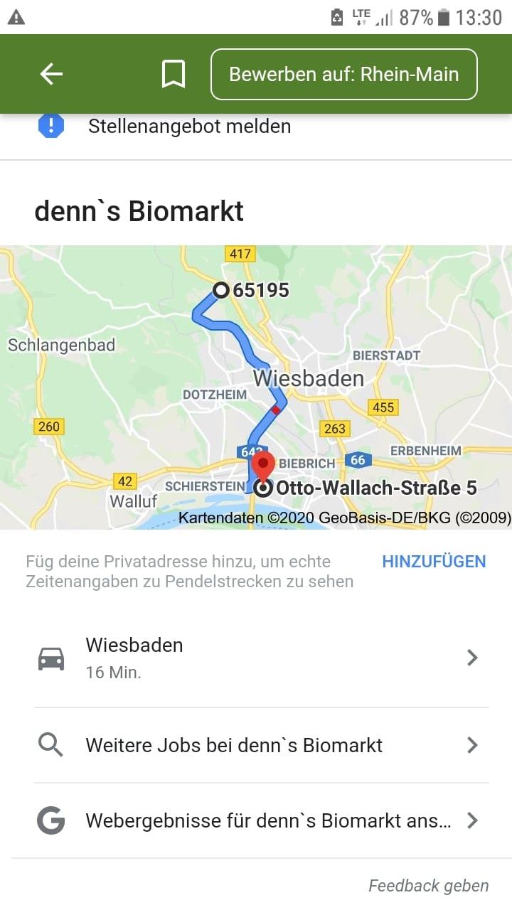 Google for Jobs zeigt unmittelbar den Fahrtweg an