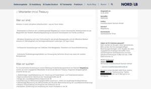 Bewerbungsbutton-Suchspiel bei der Nord LB - Screenshot Nord LB