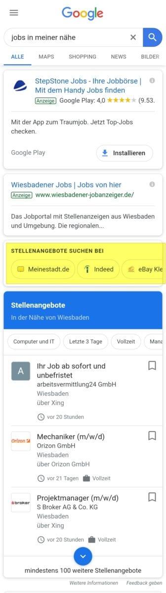Google for Jobs mit Stellenangebote suchen bei-Feature