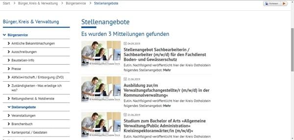 Stellenangebotsübersicht Kreisverwaltung Ostholstein
