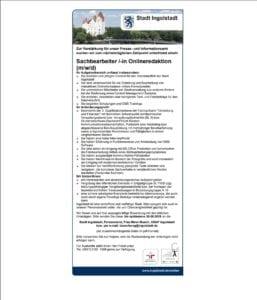 Stellenanzeige auf dem Stadtportal von Ingolstadt - nur als PDF