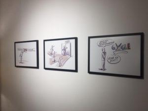 Die Illustrationen von Peter Ederer gaben den Rahmen für die Buch-Vernissage im Godot