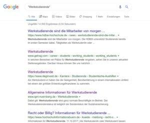 Werkstudierende - Suchtreffer bei Google
