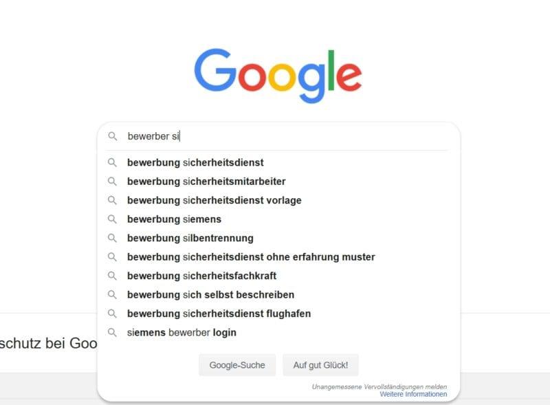 Bewerber sind auf der Suche nach Infos zur Siemens-Bewerbung - Quelle Google