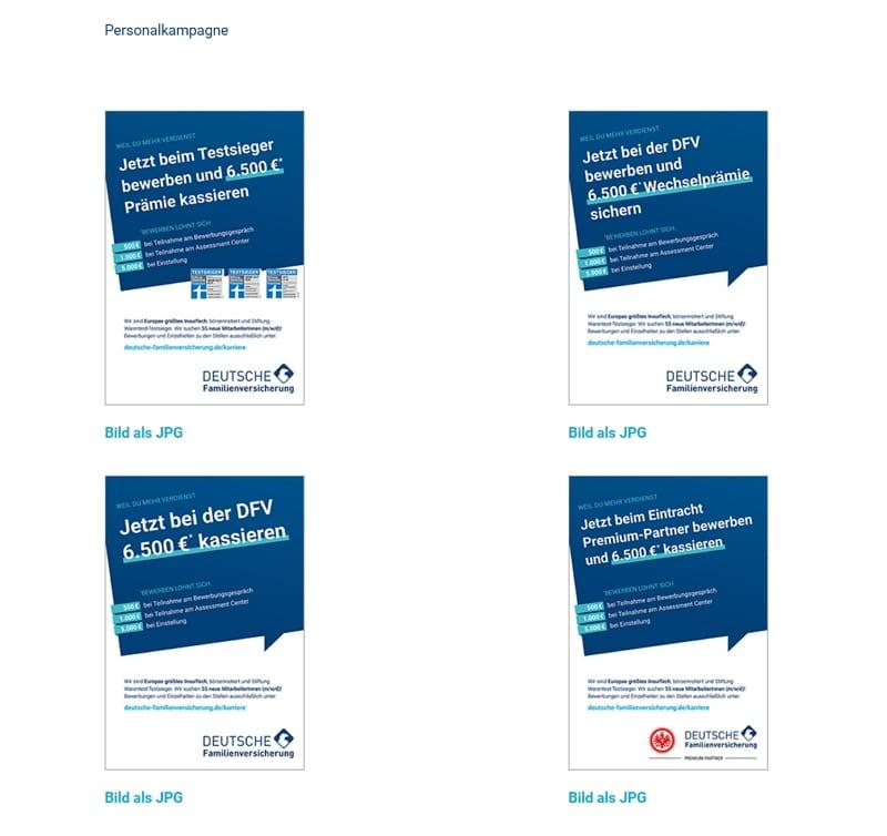 500 Euro für ein Vorstellungsgespräch 1 Die Motive der Personalmarketingkampagne lassen sich alle herunterladen