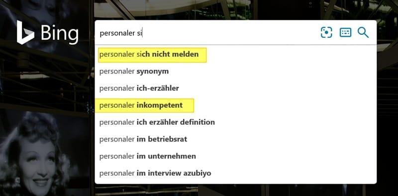 Gemäß Bing sind Personaler inkompetent