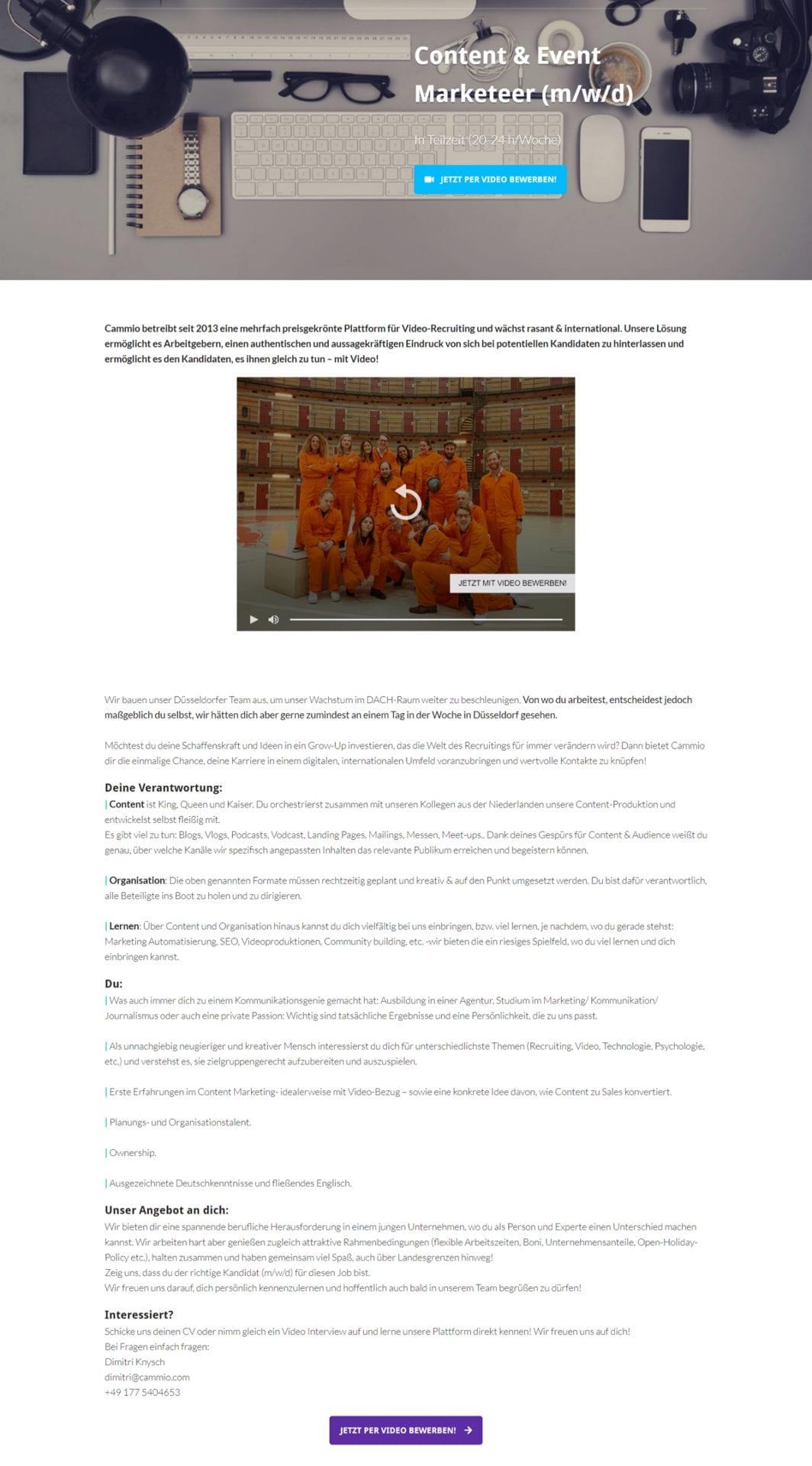 Bei der Video-Stellenanzeige von Cammio ist auch eine unmittelbare Videobewerbung möglich