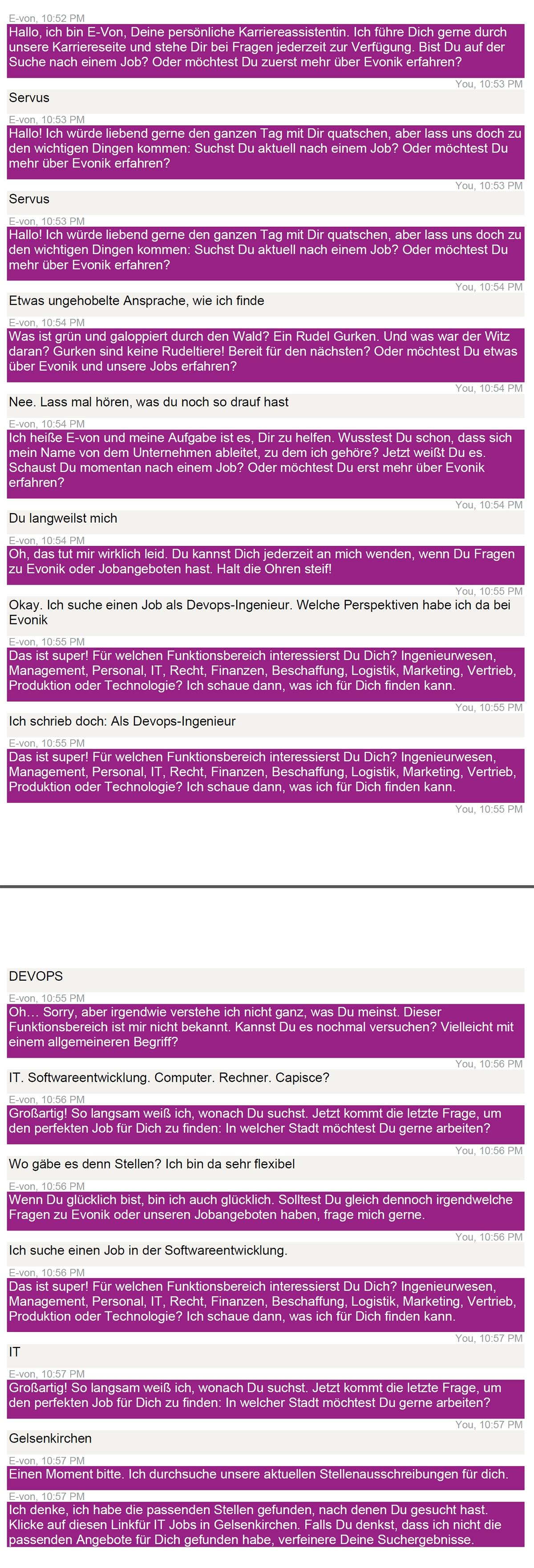 Ansprechpartner top, Chatbot auf Karriereseiten flop 1 Chatbot auf der Karriereseite von Evonik Chatprotokoll