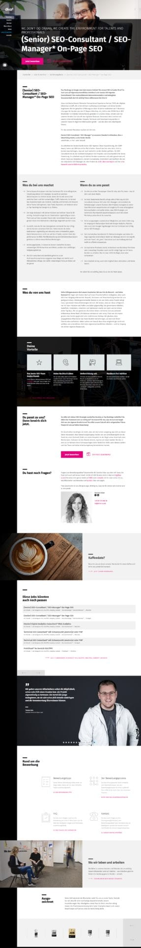 Stellenanzeige bei diva-e - Kaffee-Date und Bewerbungsinfos inklusive