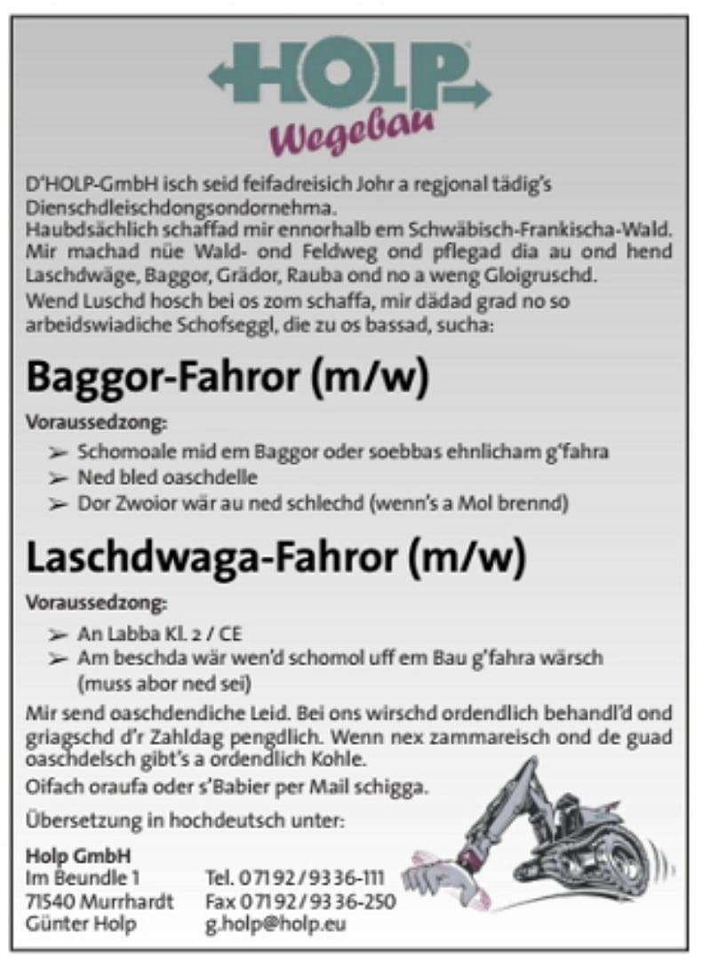 Stellenanzeige in Schwäbischer Mundart - der Baggor-Fahror von Holp