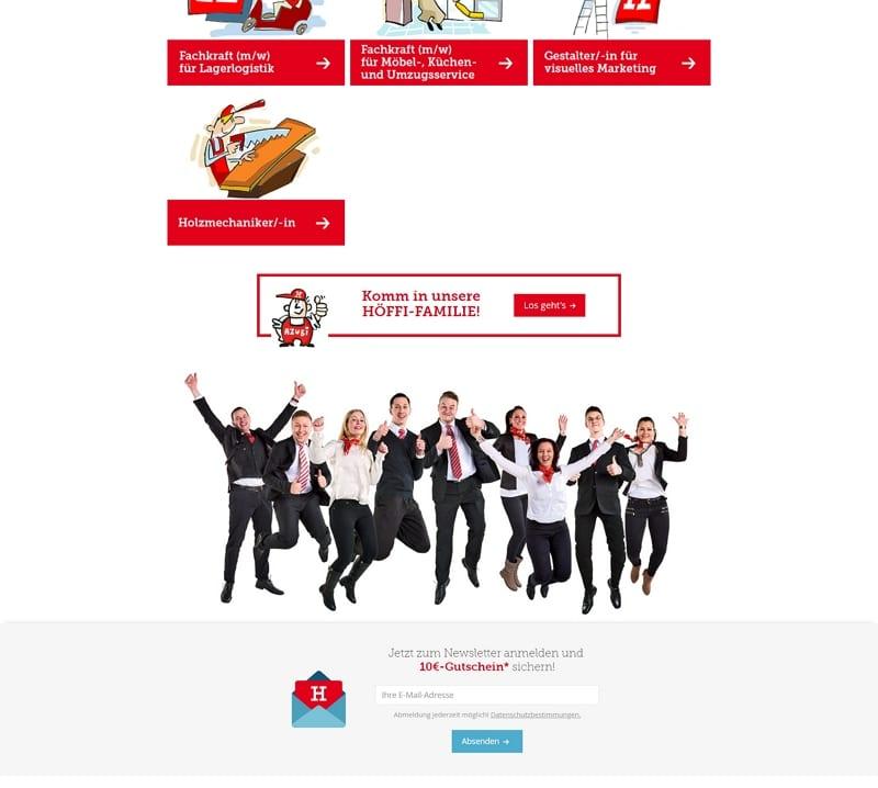 Auch der integrierte Newsletter sorgt für Verwirrung auf der Karriereseite - Screenshot: hoeffner.de