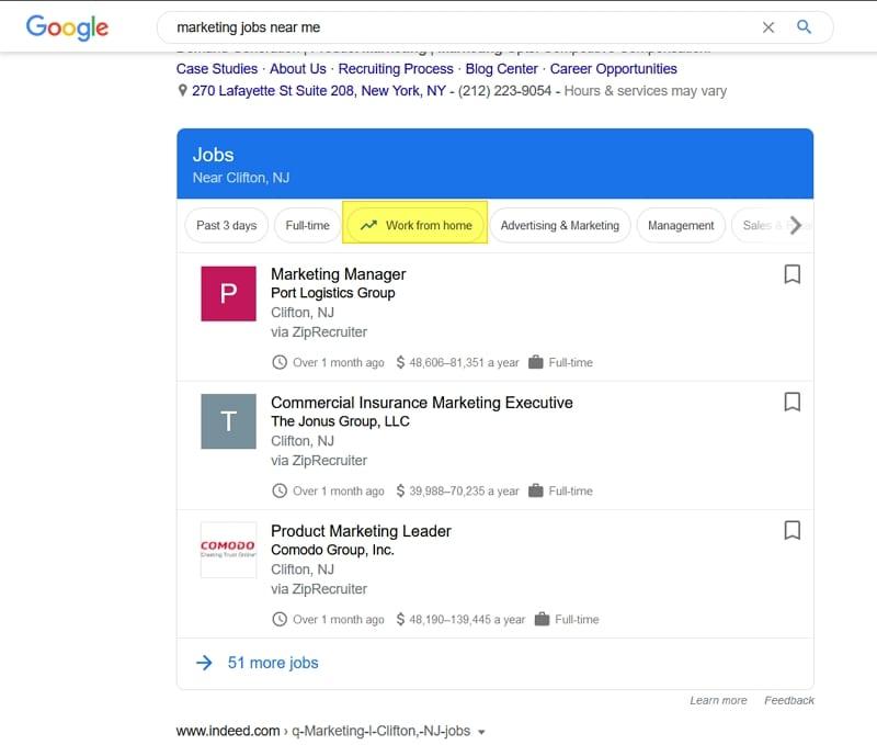 Mit dem Work-From-Home-Filter macht Google for Jobs auf Telearbeitsplätze aufmerksam